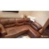 продам кожаный коричневый угловой диван